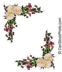 fronteira floral, rosas, e, lírio calla