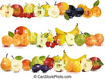fronteiras, fruta, desenho, três