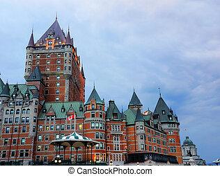 frontenac, 城, 日没, ケベック