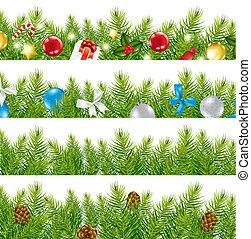 frontera, con, árbol de navidad, conjunto