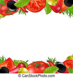 frontera, con, vegetales