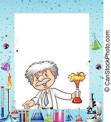frontera, diseño, con, científico, y, químicos
