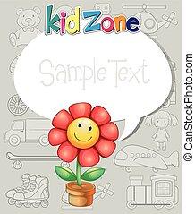 frontera, diseño, con, flor, y, juguetes