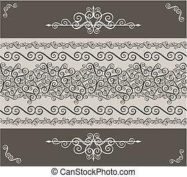 frontera, diseño, ornamentos, elemento