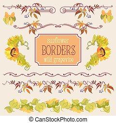 frontera, elementos, conjunto, con, girasol, y, uva
