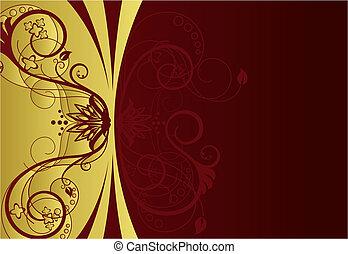 frontera floral, diseño, rojo, oro