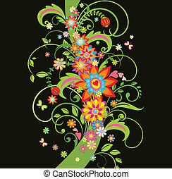 frontera floral, florido