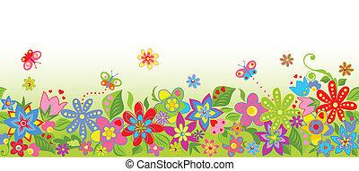 frontera floral, seamless