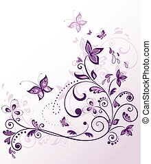 frontera floral, violeta