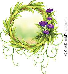 frontera, flores, verde, redondo, violeta