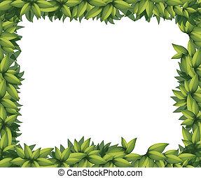 frontera, hecho, de, hojas