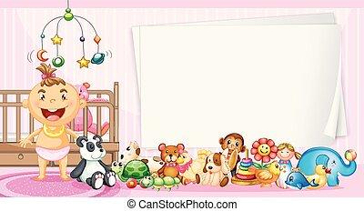 frontera, plantilla, con, bebé, y, juguetes