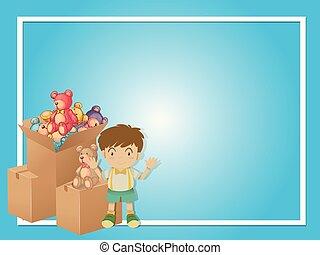 frontera, plantilla, con, niño, y, juguetes