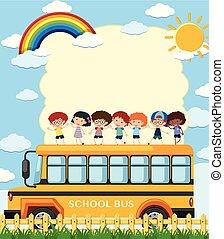 frontera, plantilla, con, niños, en, eduque autobús