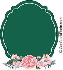 frontera, plantilla, con, rosas rosa