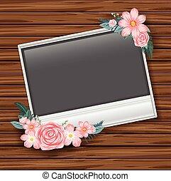frontera, plantilla, con, rosas rosa, en, pared de madera