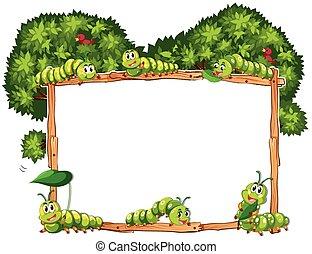 frontera, plantilla, con, verde, orugas