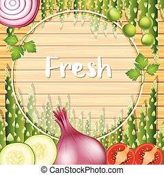 frontera, plantilla, con, verduras verdes
