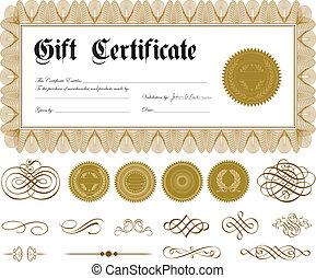 frontera, vector, ornamentos, oro, certificado