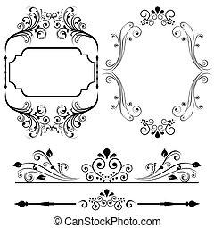 frontera, y, marco, diseños