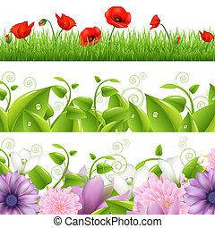 fronteras, con, flores, y, pasto o césped