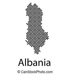frontière, albanie, carte, pays