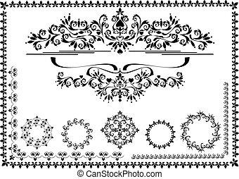 frontière, cadre, décoratif, ornement