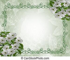 frontière, cornouiller, fleurs, floral