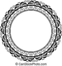 frontière décorative, cadre, conception, rond