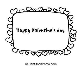 frontière, dessiné, hearts., main, frame., jour, s, valentin