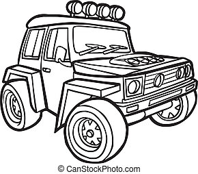 frontière, dessin animé, jeep.