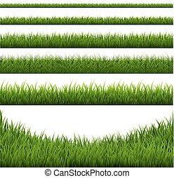 frontière, ensemble, herbe
