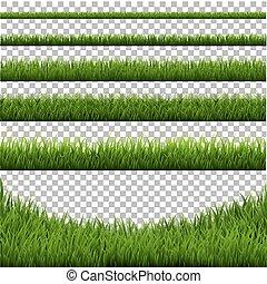 frontière, ensemble, herbe, isolé