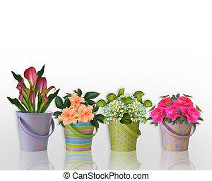 frontière florale, fleurs, dans, coloré, récipients