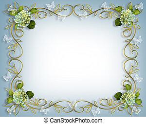 frontière florale, hortensia