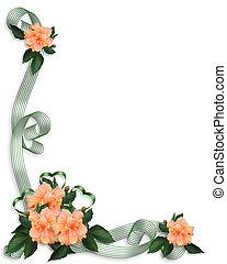 frontière florale, invitation, hibiscus