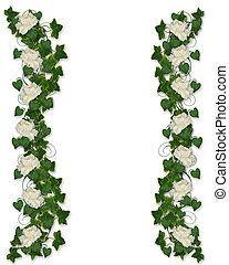 frontière florale, lierre, pivoine, invitation