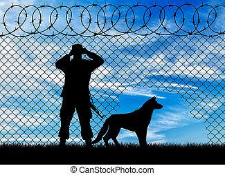 frontière, garde, silhouette, chien