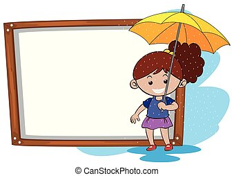 frontière, girl, parapluie, gabarit, jaune