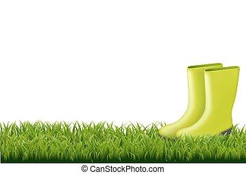 frontière, herbe, vert, gumboot
