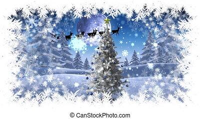 frontière, hiver, flocon de neige, paysage, voler, noël, santa, arbre