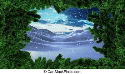frontière, neige, paysage hiver, arbre noël