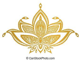 frontière, or, mandala., lotus