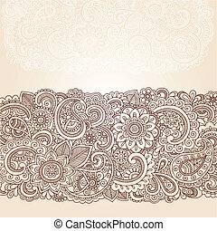 frontière, paisley, henné, conception, fleurs
