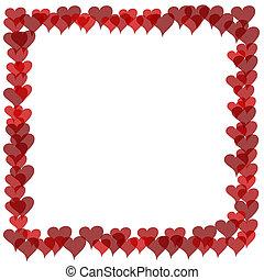 frontière, valentines, -, chevaucher, cœurs