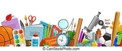 frontière, vecteur, école, education, accessoires, dessin animé