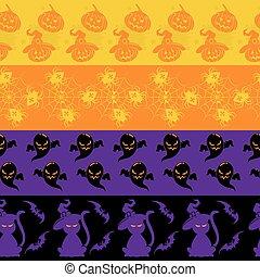 frontières, ensemble, halloween, seamless, coloré