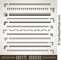 frontières, ensemble, (vector), orné