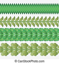 frontières, ensemble, vert, seamless, leaves.