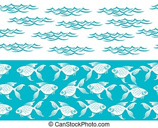 frontières, fish, vagues, seamless, océan